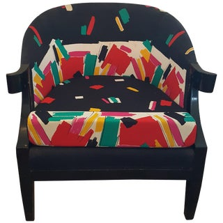 Baker Club Chair in 80s Fabric For Sale