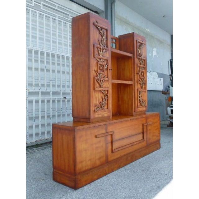 James Mont 50's Hollywood Regency James Mont Coromandel Red Cabinet For Sale - Image 4 of 11