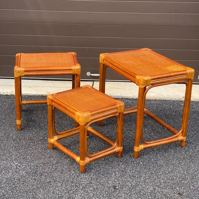 Leather Wrapped Rattan Nesting Tables - Set of 3 For Sale - Image 9 of 13