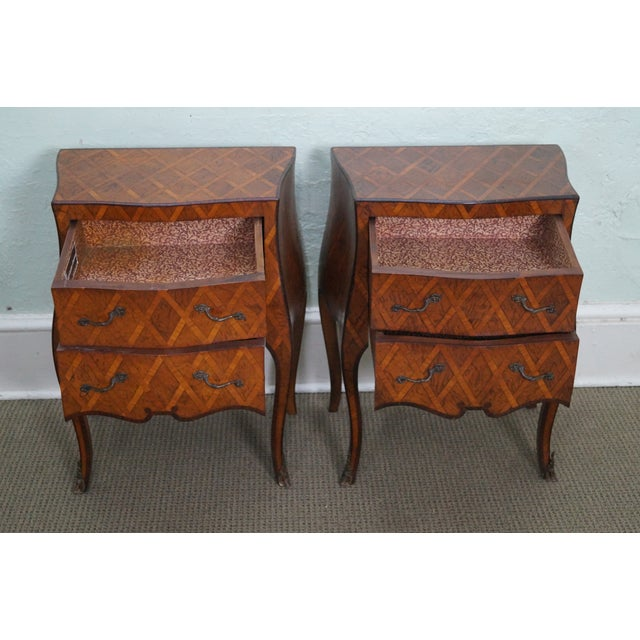 Vintage Italian Bombe Walnut Commodes Chests - Image 6 of 10