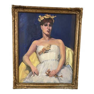 Portrait of a Woman in White Dress For Sale