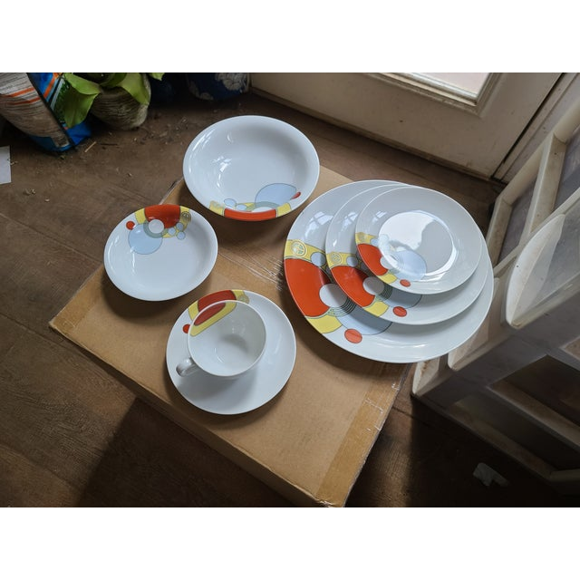 1980s 1980s Frank Lloyd Wright Art Deco Imperial Hotel Design Porcelain Dishes 7-Piece Place Setting For Sale - Image 5 of 9