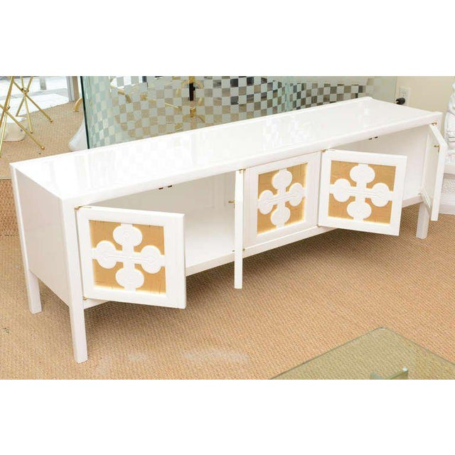 Wood Mid-Century Modern White Lacquered and Gold Leaf Sideboard Cabinet Final Markdown For Sale - Image 7 of 11
