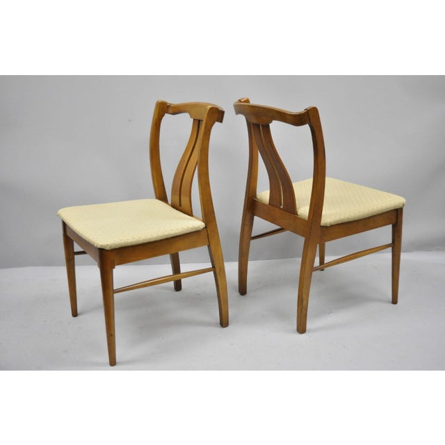 Vintage Mid-Century Modern Curved Back Walnut Dining Chairs - Set of 4 For Sale - Image 4 of 12