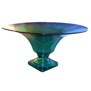 1980s Irridescent Blue Green Flared Art Glass Pedestal Centerpiece Serving Bowl For Sale
