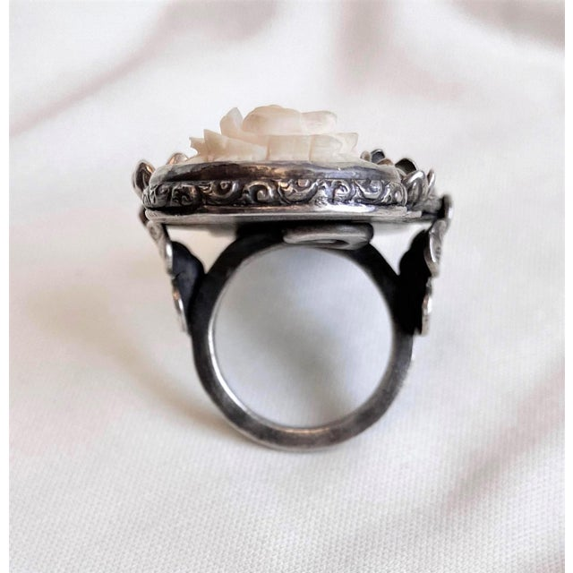 Sterling and Carved Bone Floral Motif Oversized Ring For Sale - Image 4 of 8