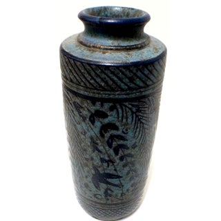 Vintage Blue Ceramic Lipped Vase