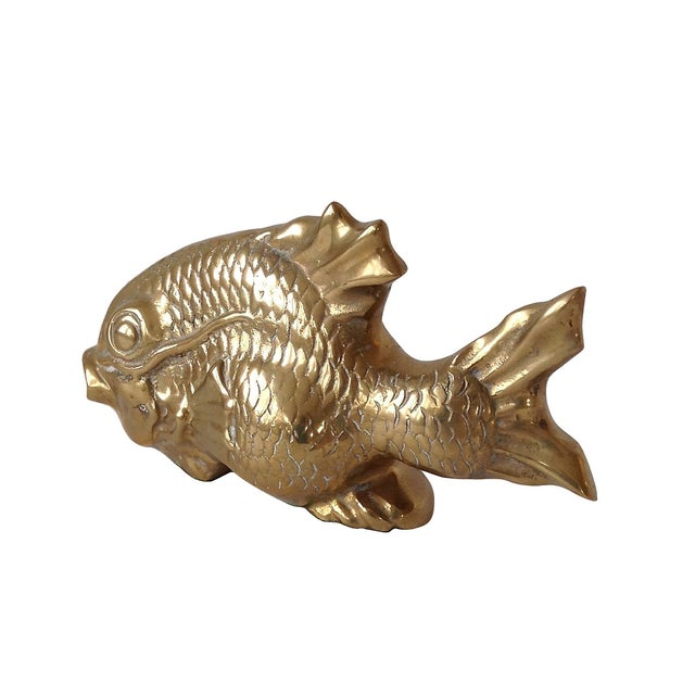 Hollywood Regency Vintage Large Brass Koi Fish For Sale - Image 3 of 3