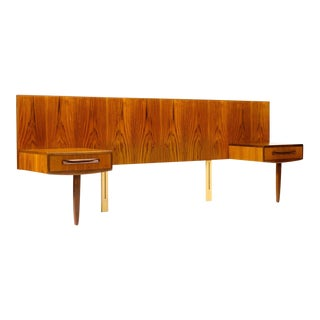 1960s Danish Modern G-Plan Teak Headboard + Floating Nightstand For Sale