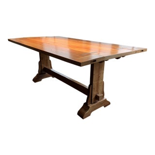 Solid Mahogany Artisan Drop-Leaf Trestle Table For Sale