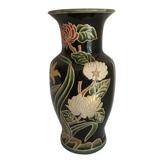 Chinese Carved Porcelain Lotus Famille Noir Floor Vase For Sale