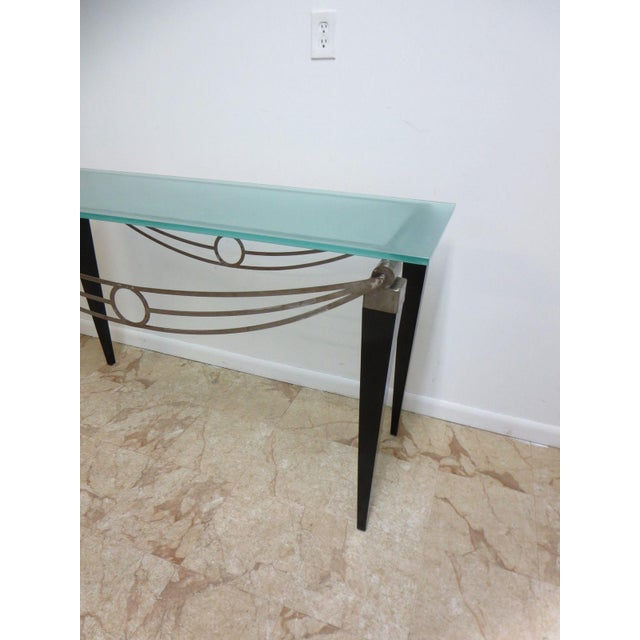 Art Deco Neo Classical Metal Draped Federal Sofa Hall Foyer Table Server Console For Sale - Image 3 of 11