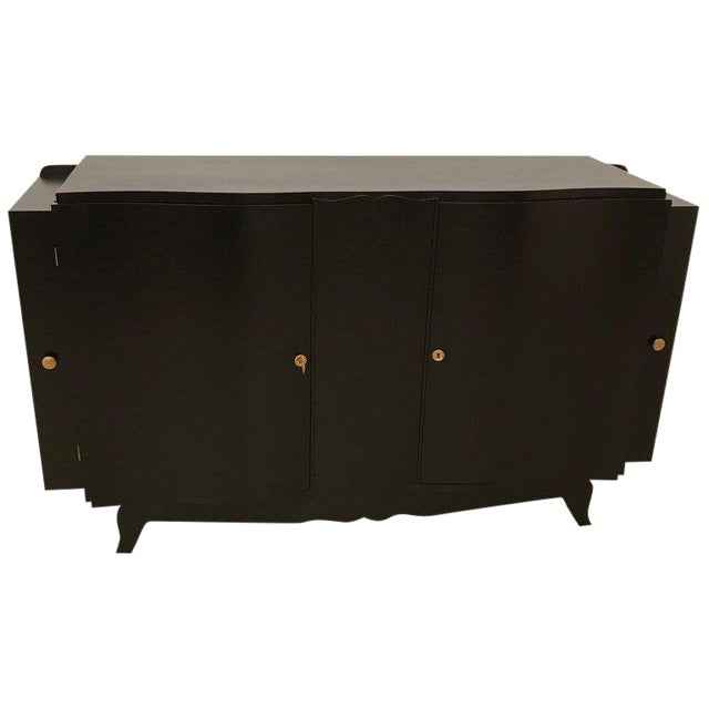 French Art Deco Black Lacquered Sideboard or Buffet With Dry Bar For Sale
