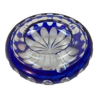 Bavaria Germany Cobalt Blue Crystal Ashtray