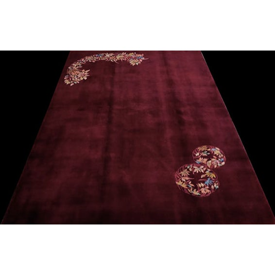 "Textile Antique Chinese Art Deco Rug 6'0"" X 8'9"" For Sale - Image 7 of 11"