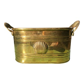 1960s Hollywood Regency Brass Oblong Planter With Shell Detail and Handles For Sale