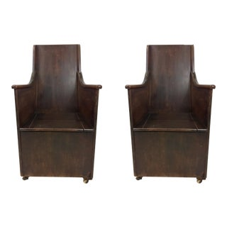 Pair of 19th-C. English Oak Commodes For Sale