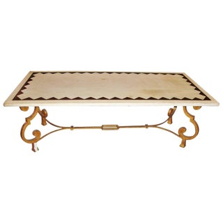 Hollywood Regency French Brass Base Coffee Cocktail Table Inlaid Marble Top For Sale