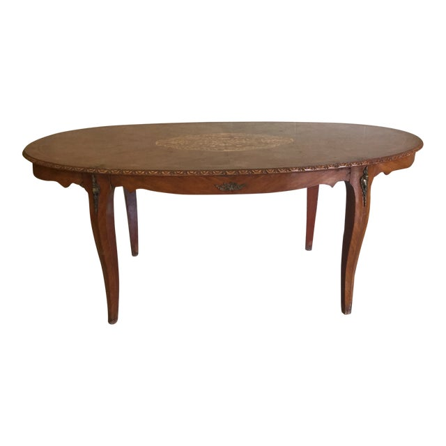 French Inlaid Ormolu Dining Table Desk For Sale