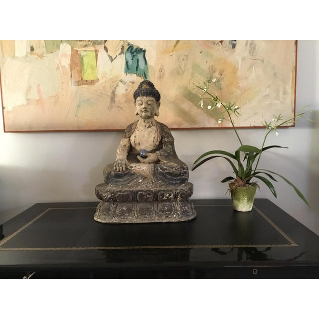 Antique Wooden Carved Buddha Figurine For Sale - Image 10 of 12