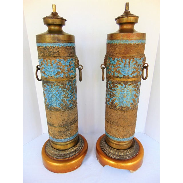 Vintage Marbro Champleve Lamps - A Pair - Image 2 of 8