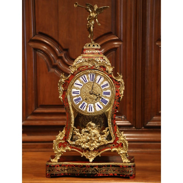 Mid 20th Century Mid-20th Century French Tortoiseshell and Bronze Boulle Mantel Clock With Base For Sale - Image 5 of 11