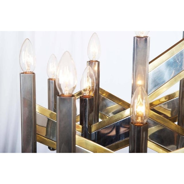 Gold Italian Chrome and Brass Chevron Chandelier with 21 Lights by Gaetano Sciolari, 1966 For Sale - Image 8 of 11