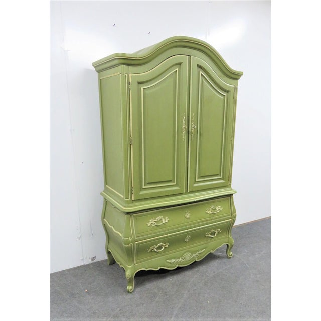 Louis XV style Armoire, green and cream painted finish, 2 door over 2 drawer, fitted interior with cubby holes and 3...