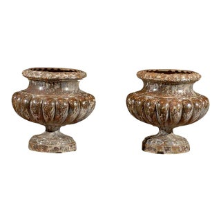 Pair of French Mid 19th Century Alfred Corneau Marbleized Iron Urns For Sale