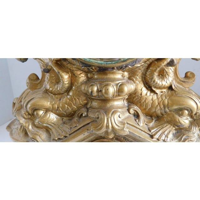 Victorian Gilt Metal Table Clock C. 1870 For Sale - Image 4 of 13