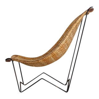 John Risley Metal and Rattan Duyan Lounge Chair, USA, 1950s For Sale
