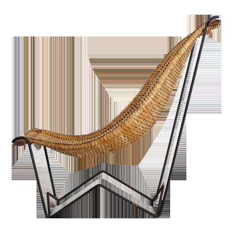 John Risley Metal And Rattan Duyan Lounge Chair, USA, 1950s   Image 1 Of