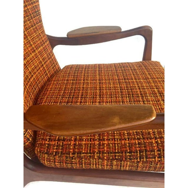 Mid Century Modern Wingback Chair Atomic Age Walnut Arm Chair All Original - Image 5 of 11
