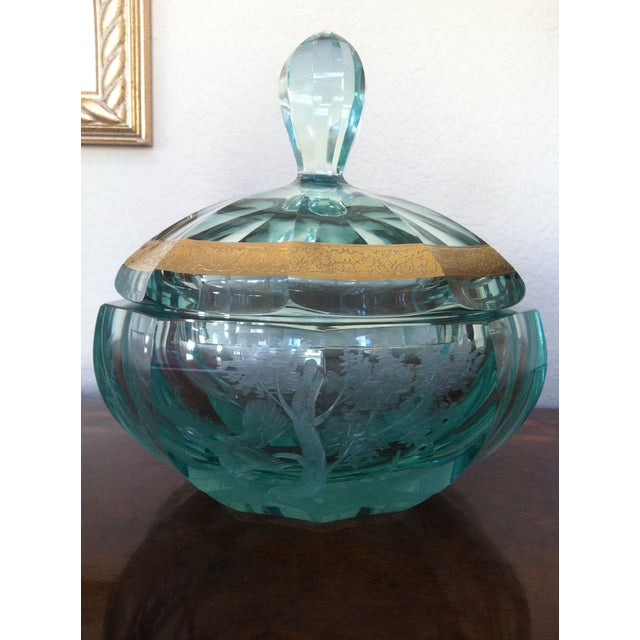 Green Moser Crystal Candy Dish, Signed - Image 2 of 7