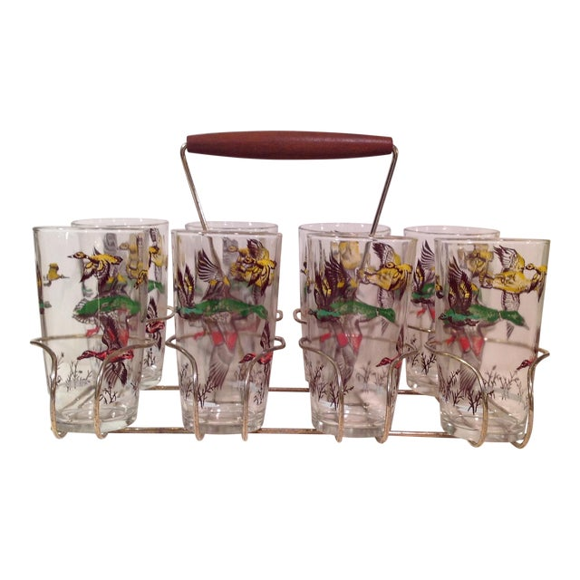Mid-Century Modern Duck Glasses With Caddy- Set of 8 - Image 1 of 6