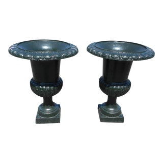 Cast Iron Urns - a Pair For Sale