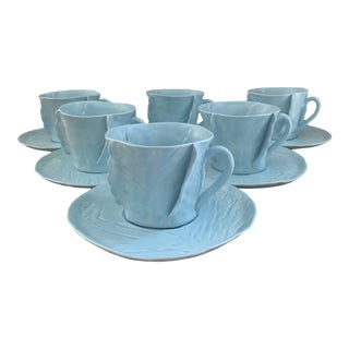 Vintage Dodie Thayer Style Sky Blue Cabbageware Cups and Saucers- Set of 6 For Sale