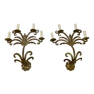Metal Sconces With Patina - a Pair For Sale