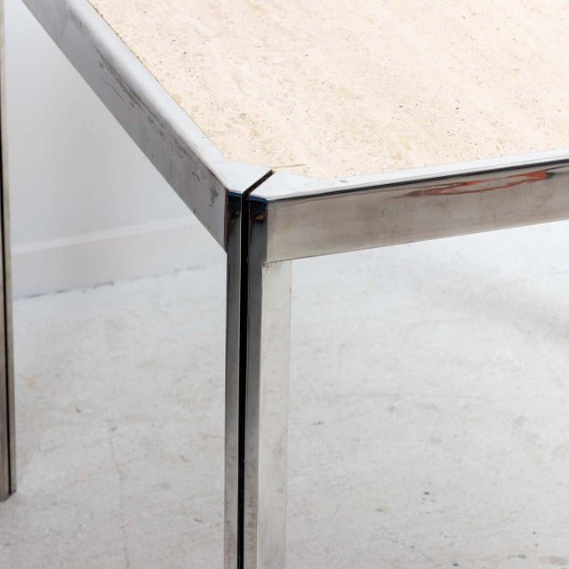 20th Century Travertine and Nickel Dining/Games Table For Sale - Image 9 of 10