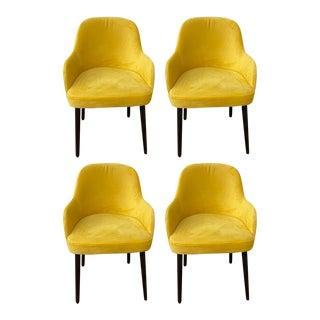 1980s Vintage Barrel Back Side Chairs - Set of 4 For Sale