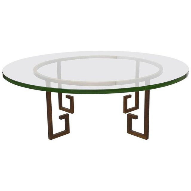 French Modern Gilt Iron and Glass Low Table, Style of Jean Royère For Sale - Image 9 of 9