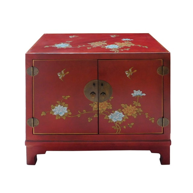 Oriental Red Vinyl Flower Side Table Cabinet - Image 2 of 7