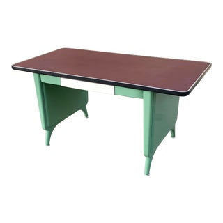 1960s AllSteel Panel Leg Tanker Table, Refinished in Arsenic Green For Sale