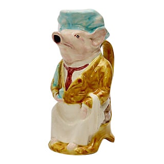 Vintage French Majolica Chef Pig Pitcher For Sale
