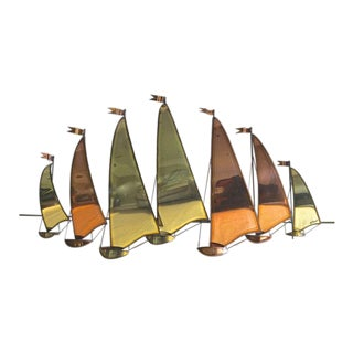 C. Jere Style Sail Boat Brass & Copper Wall Sculpture For Sale