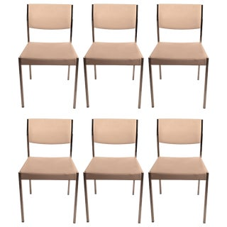 Set of Six John Stuart Chrome and White Dining Chairs For Sale