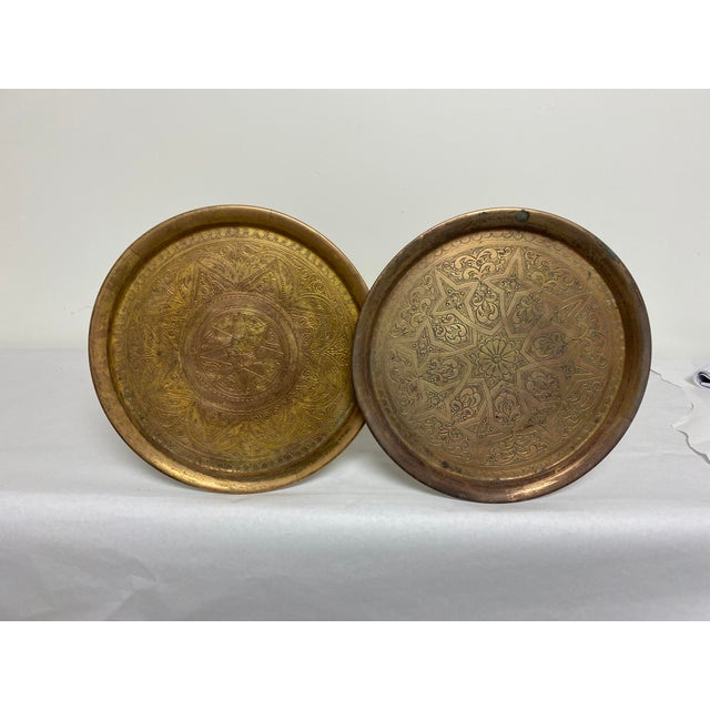 Egyptian Revival Vintage Egyptian Brass Engraved Pedestal Tables - a Pair For Sale - Image 3 of 9