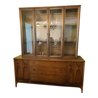 Broyhill Brasilia Mid-Century Modern Walnut Display Cabinet For Sale