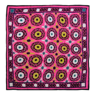 Vintage Turkish Uzbek Suzani Pink Floral Textile- 7'10″x 8'4″ For Sale