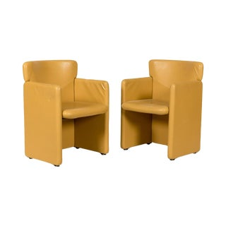 Mid-Century Mustard Yellow Leather Chairs - a Pair